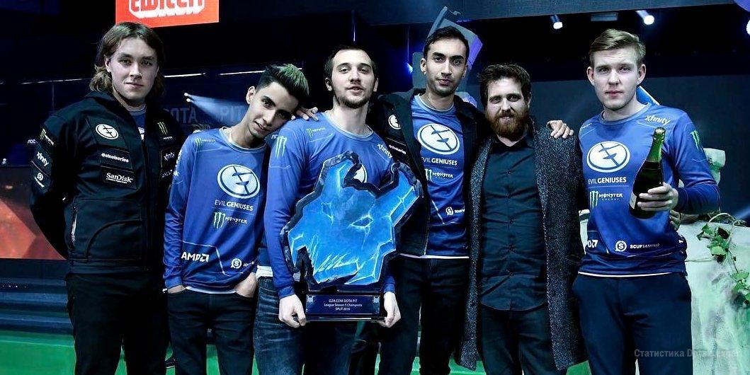 Команда Evil Geniuses Dota 2: Arteezy, Suma1L, UNiVeRsE, zai, Cr1t-. Чемпионы Dota Pit S5 22 января 2017