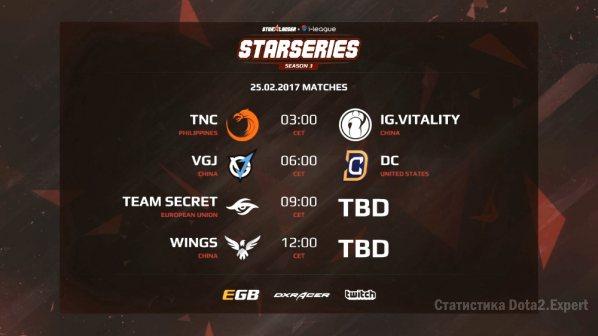 Расписание матчей на StarSeries S3, день третий 25.02.2017