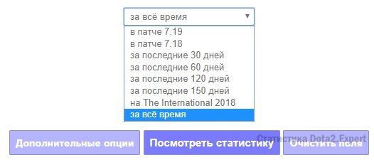 Выборка похожих матчей по времени Dota2Plusz.ru
